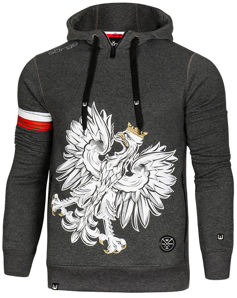 Surge Polonia Bluza patriotyczna z kapturem Orzeł Sport (CIEMNY MELANŻ, kod 352, rozmiar XL) 1szt